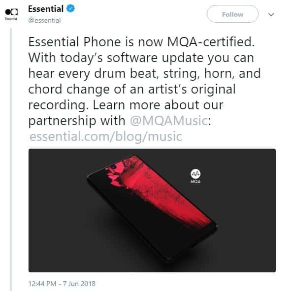 Essential Phone มือถือยี่ห้อที่ 3 ของโลกที่รองรับไฟล์เสียง MQA