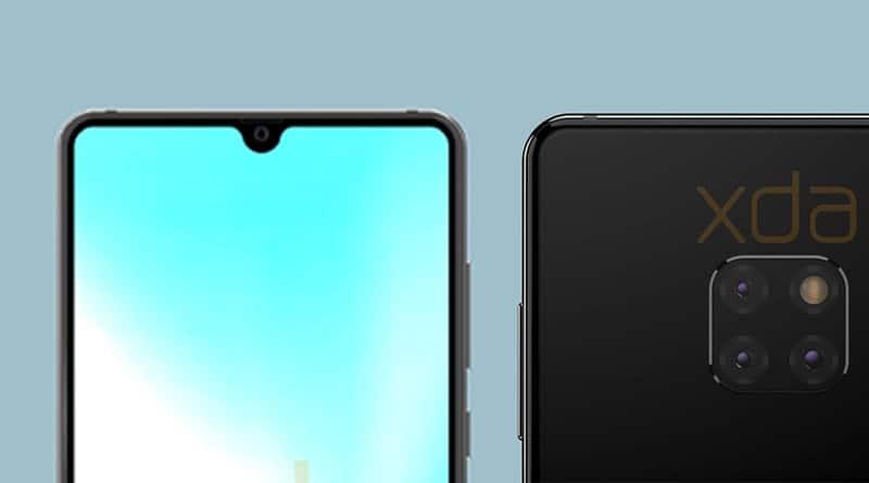 หลุดภาพเรนเดอร์ Huawei Mate 20 จอมีรอยแหว่งรูปหยดน้ำและกล้องหลัง 3 ตัว
