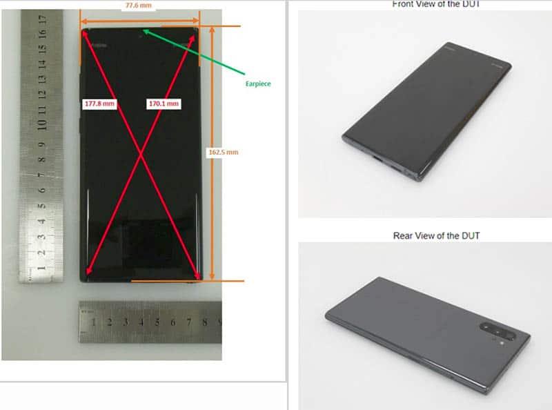 หลุดภาพจริงของ Samsung Galaxy Note 10 จากหน่วยงานของสหรัฐฯ