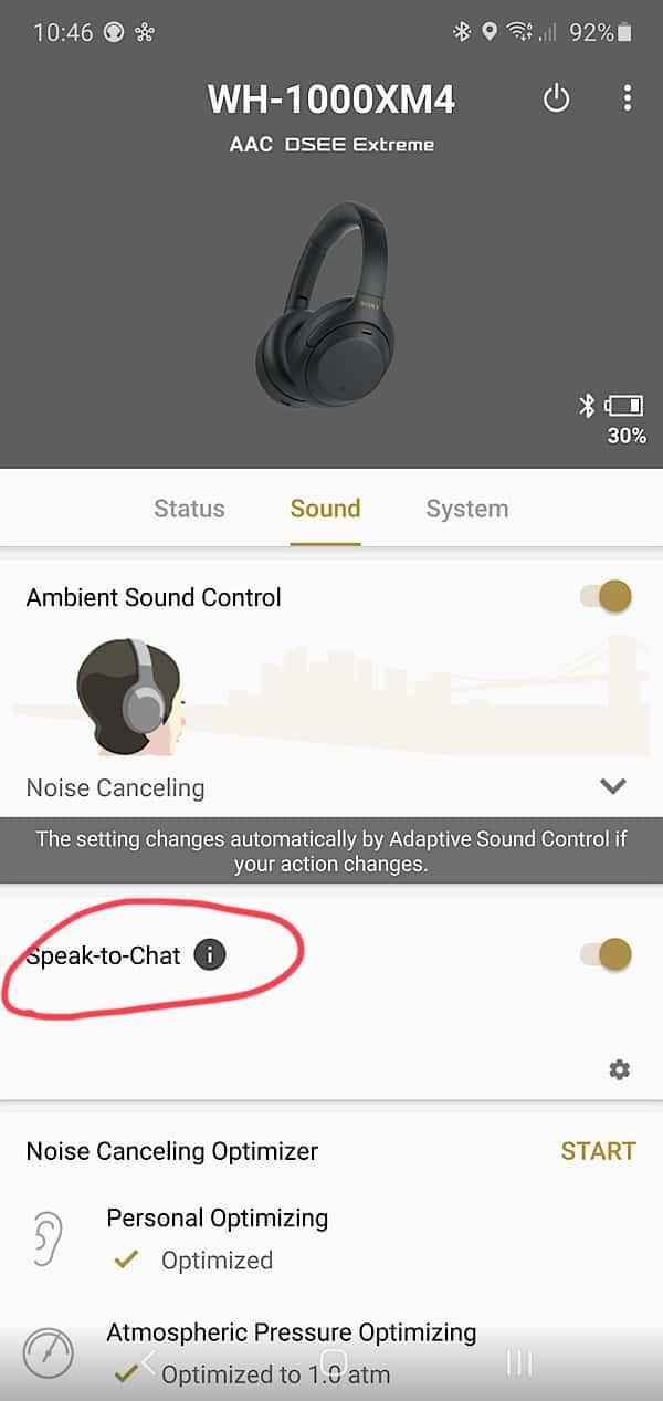 Sony WH-1000XM4 speak to chat