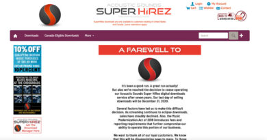 Acoustic Sounds Super HiREZ stop selling download file response to streaming growth