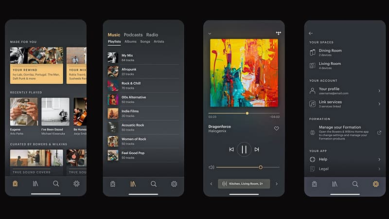 B&W new Music App included complete music control streaming for formation series multi room