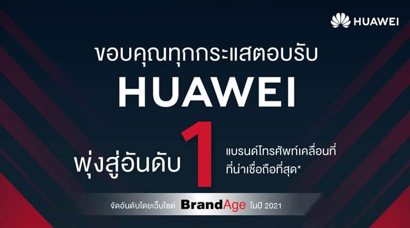 HUAWEI ranked first Thailand's Most Admired Brand 2021
