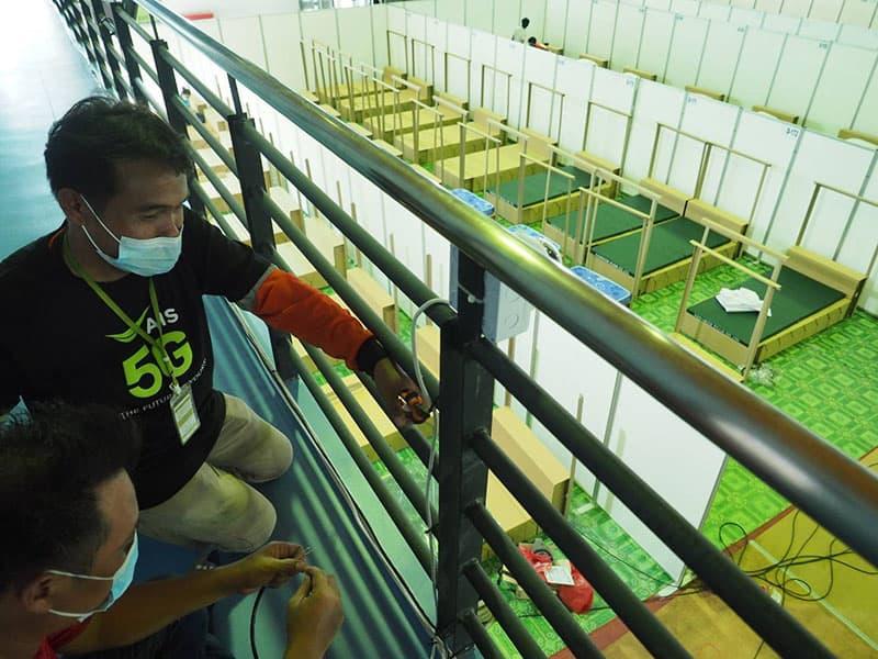 AIS setup communication network at field hospital Bangkok CIVID-19 quarantine