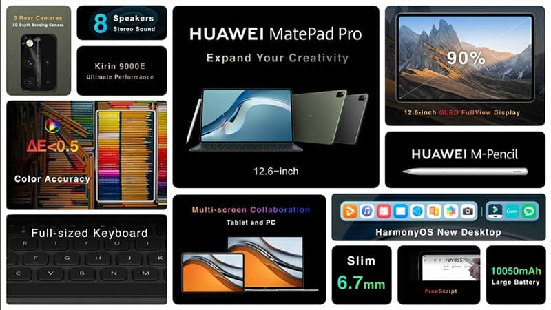 HUAWEI unveil new MatePad Pro tablet features 12.6 inches OLED display 8 speakers with HarmonyOS