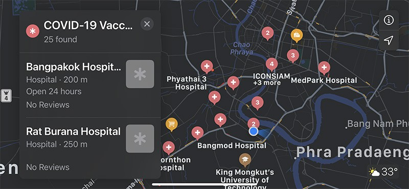 Apple Maps show thousand vaccines service points all area in country