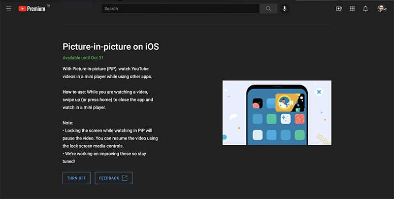 YouTube Premium subscribers now how to use iOS picture-in-picture feature